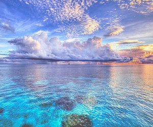 sea, sky, and clouds image