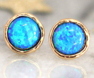 earrings, studs, and opal image