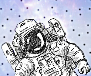 astronaut, drawing, and galaxy image