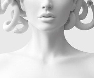 white, statue, and medusa image