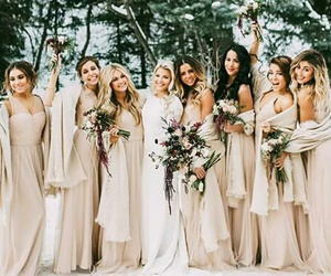 bridemaids, dress, and wedding image