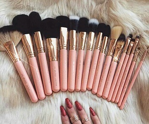 makeup, Brushes, and pink image