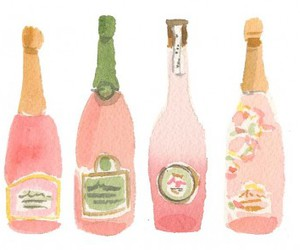 pink, champagne, and illustration image