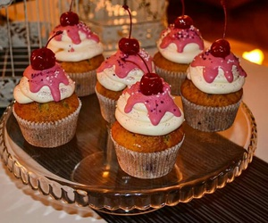 baking, cherry, and cup cakes image