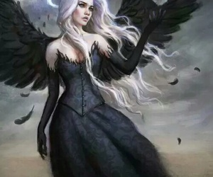 angel, dark, and black image