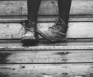 shoes, black and white, and boots image