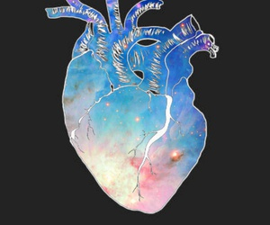 galaxy, heart, and inspirational image