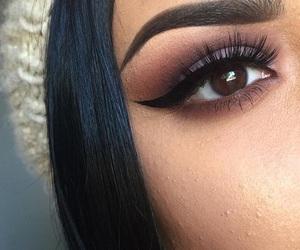black hair, eyeliner, and fleek image