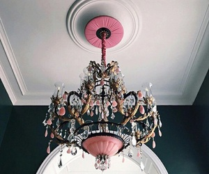 pink, chandelier, and home image