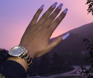 nails, purple, and watch image
