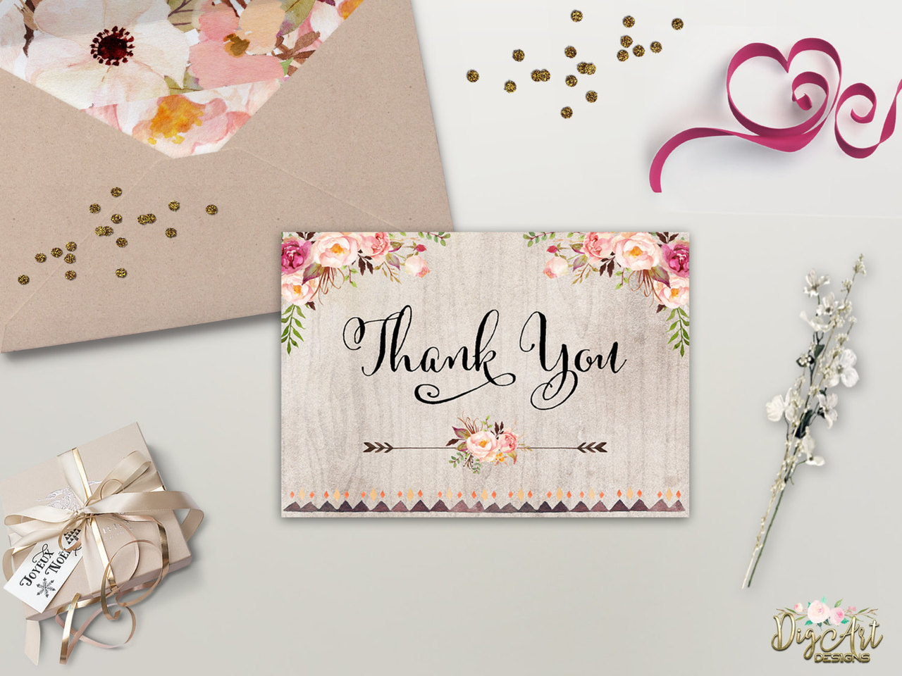 Floral Thank You Card Printable Rustic Thank You Card Boho Chic