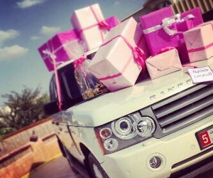 pink, car, and gift image