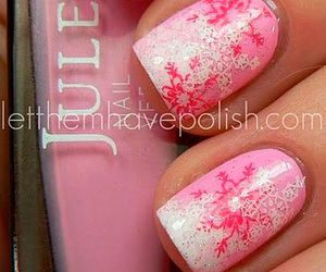 pink, nails, and snow image
