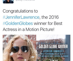golden globes, Jennifer Lawrence, and joy movie image