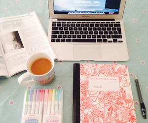 book, coffee, and notebook image