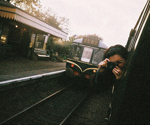 girl, train, and photography image
