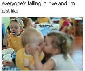 boy, eating, and falling image