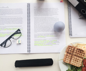 book, coffe, and food image