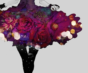 flowers, anime, and dress image
