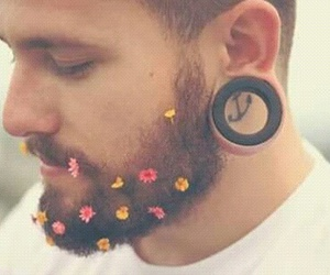 flowers, boy, and beard image