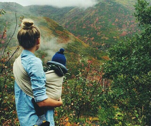 baby, nature, and mom image