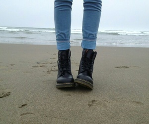 beach, boots, and jeans image