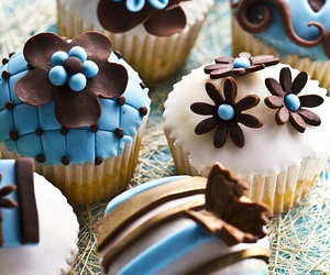 blue, chocolate, and flowers image