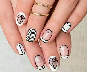 nails, white, and diamond image