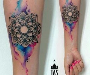 tattoo, mandala, and watercolor image