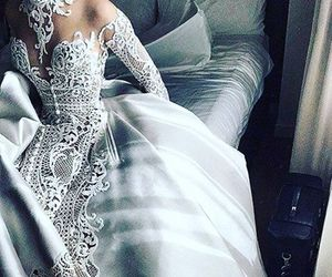 dress, wedding dress, and white image