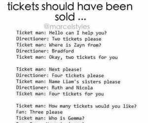 one direction, tickets, and fan image