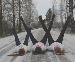 finland, winter, and friends image