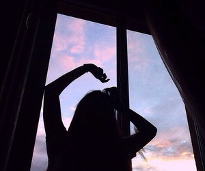 girl, sky, and shadow image