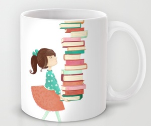 book, girl, and mug image