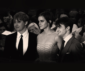 black and white, daniel radcliffe, and emma watson image