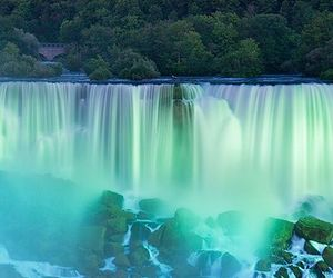 nature, moon, and waterfall image
