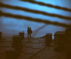 love, couple, and roof image