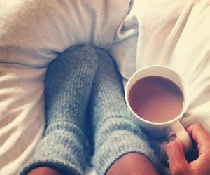 bed, socks, and coffe image