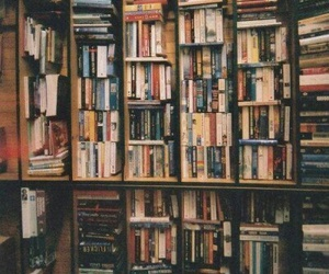books, library, and damn image