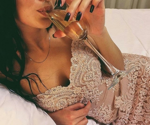 dress, girl, and champagne image