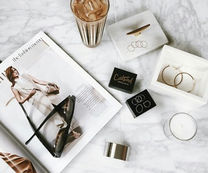 white, coffee, and magazine image