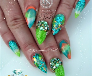 glitter, jewels, and nails image