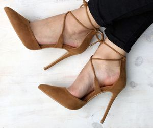 brown, fashion, and highheels image