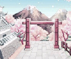 japan, pixels, and twitter header image