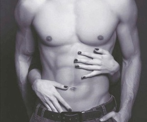 abs, black and white, and hot guys image