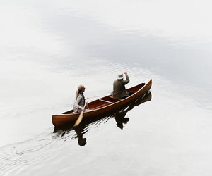 boat, couple, and nature image