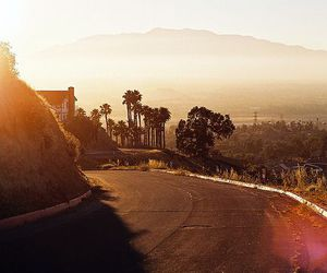 road, california, and sunset image
