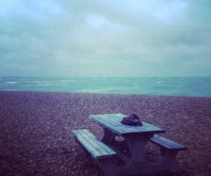 beach, solitude, and table image