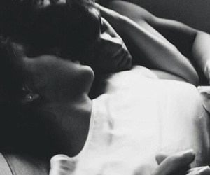 bed, hug, and black and white image
