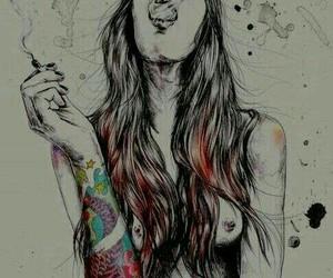 smoke, tattoo, and art image